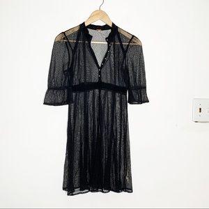 Free People Black Sheer Lace Swiss Dot Mini Dress